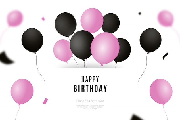 Happy birthday background with black and pink balloons Free Vector
