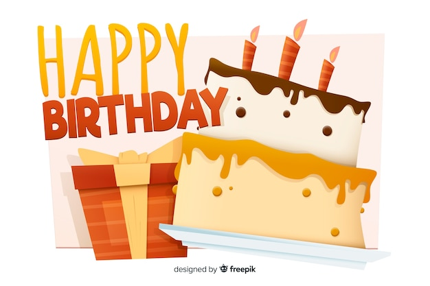 Happy birthday background with cake in flat design Free Vector