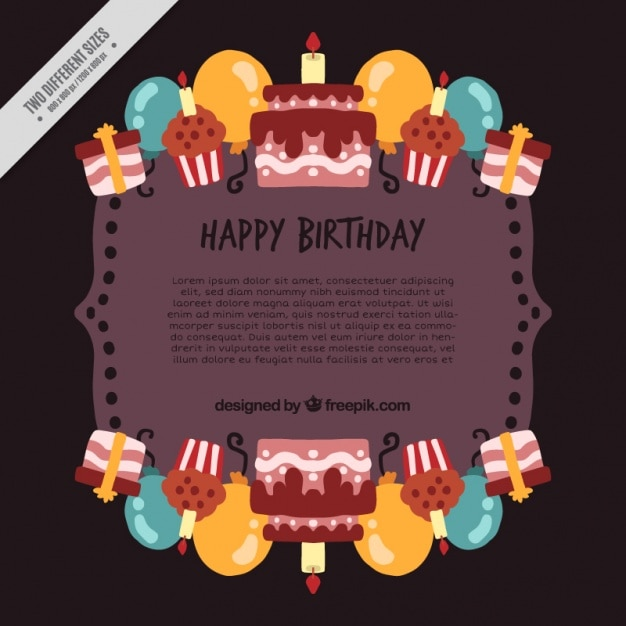 Happy Birthday Background With Cakes And Balloons Vector