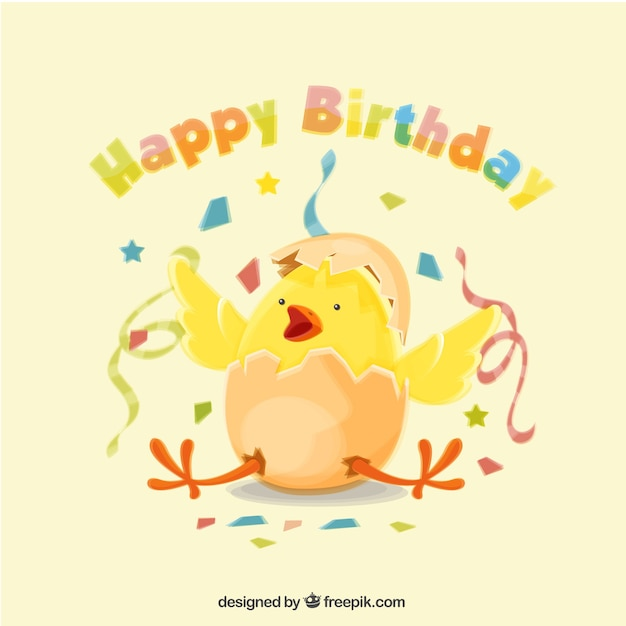 Happy birthday background with chick and confetti Free Vector