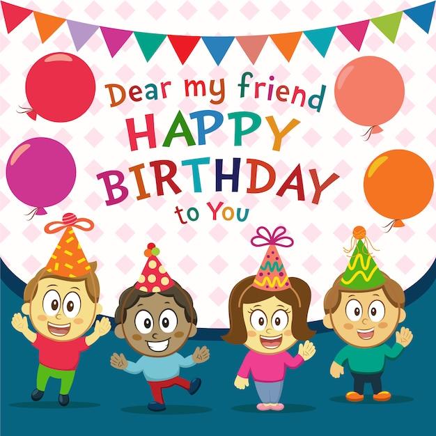 Happy Birthday Background With Children Vector