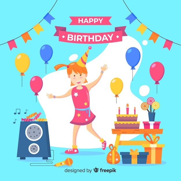 Happy birthday background with cute girl Free Vector