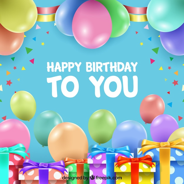Happy birthday background with gifts and balloons Free Vector