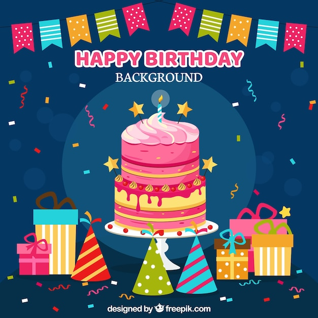 Happy Birthday Background With Gifts And Decoration Free Vector