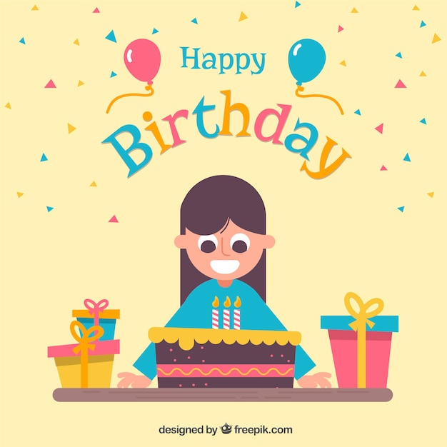 Happy Birthday Background With Girl And Cake In Flat Design Vector