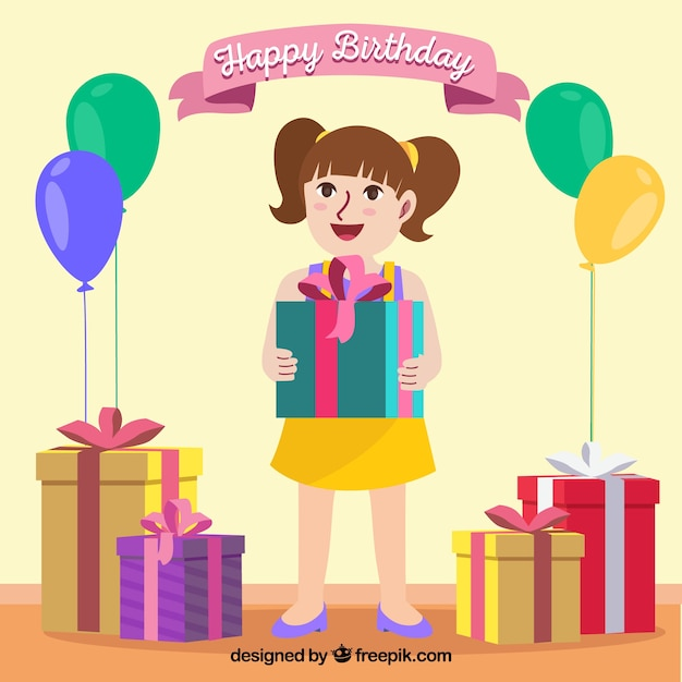 happy birthday background with girl vector free download