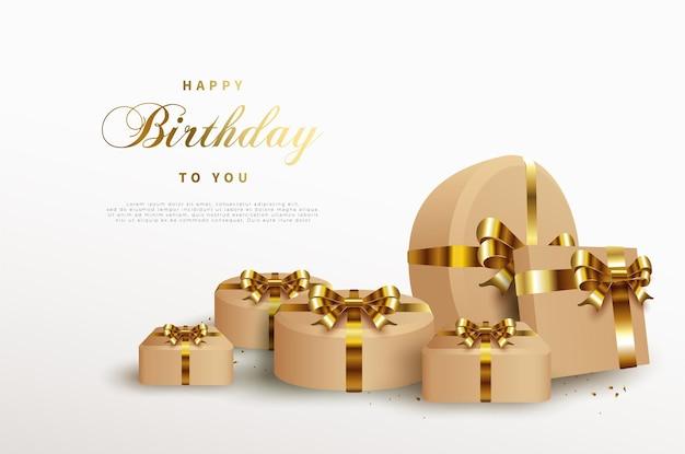 빛나는 골드 리본 선물 상자와 함께 생일 축 하 배경. 프리미엄 벡터