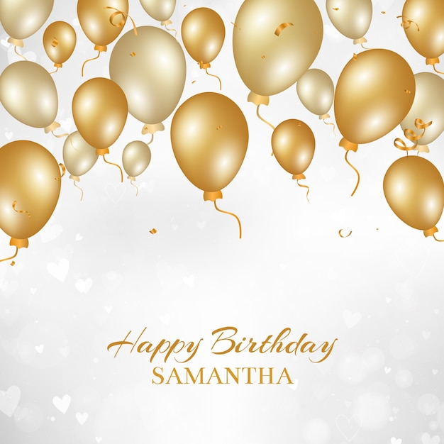 Happy Birthday Background With Gold Balloons Vector