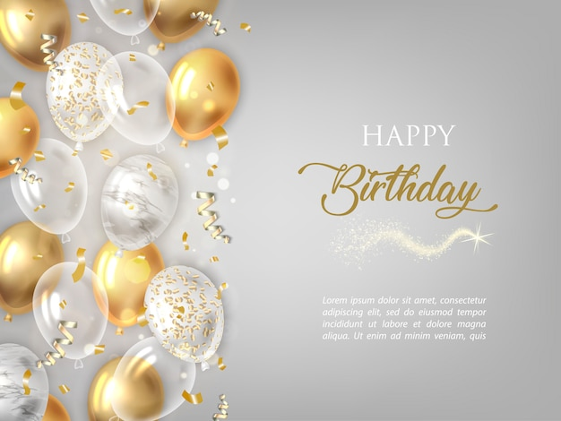 Happy birthday background with golden balloons. Premium Vector