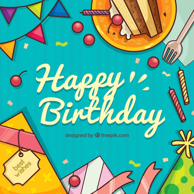Happy birthday background with hand drawn elements Vector Free Download