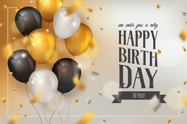 Happy birthday background with luxury balloons and confetti Free Vector