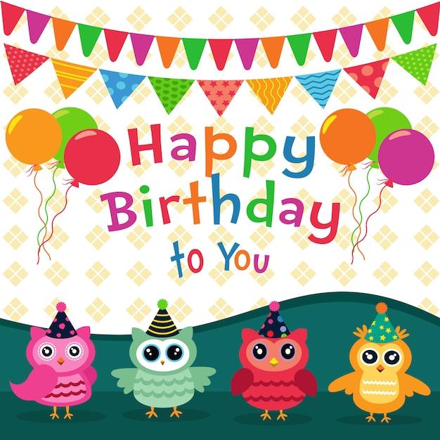 Happy Birthday Owl Stock Photos