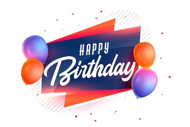 Happy birthday background with realistic 3d balloons Free Vector