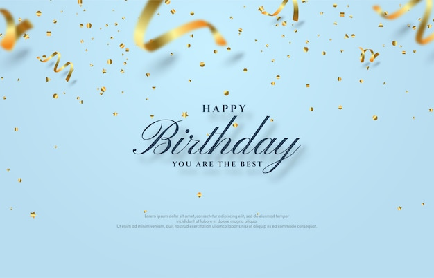 Happy birthday background with scattered gold paper cut illustration. Premium Vector