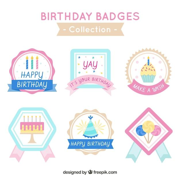 Happy birthday badges collection
