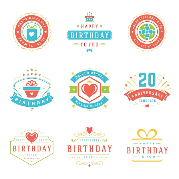 Happy birthday badges and labels vector design elements set. Premium Vector