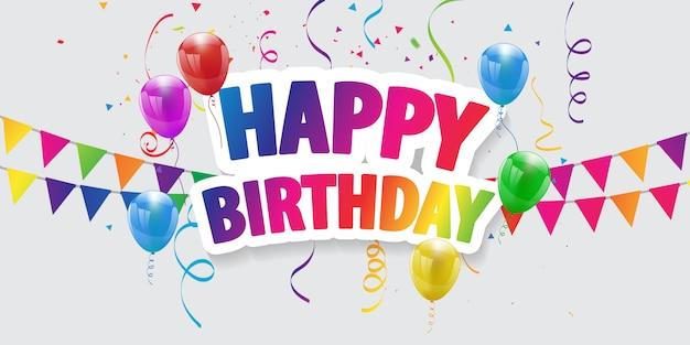 Happy birthday balloons celebration background Premium Vector