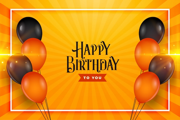 Happy birthday balloons wishes card background design Free Vector