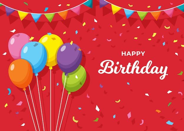 Premium Vector Happy Birthday Banner On Red Background