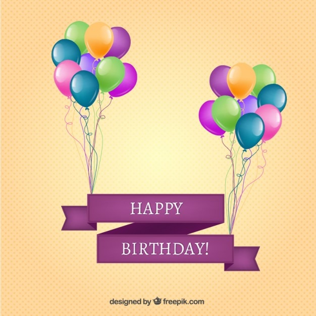 happy birthday banner with balloons vector free download
