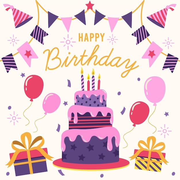 С днем рождения баннер Бесплатные векторы