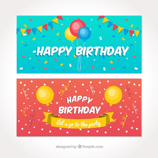 Happy Birthday Banners With Colorful Balloons And Pennants