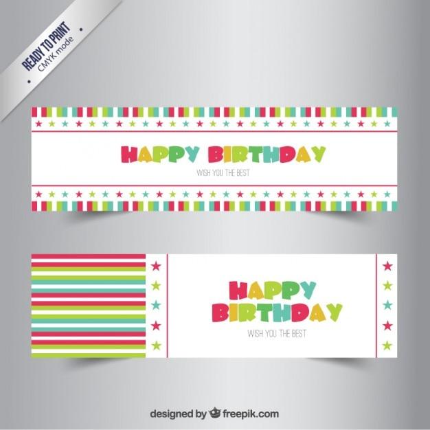Happy Birthday Banners Vector