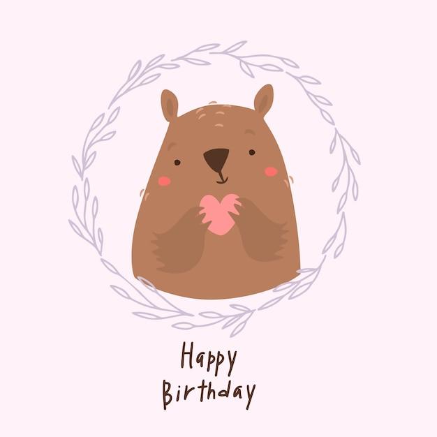 Buon compleanno orso con il cuore Vettore gratuito