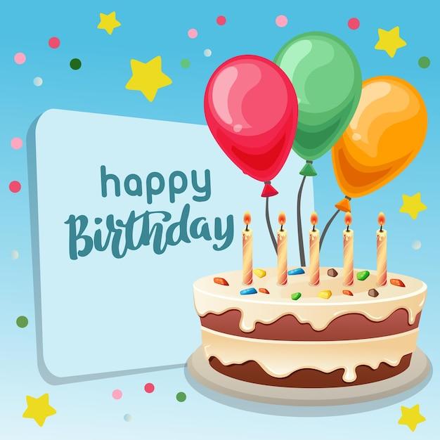 Happy Birthday Big Cake Ribbon Premium Vector