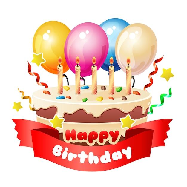 Happy Birthday Blue Background With Big Cake Premium Vector