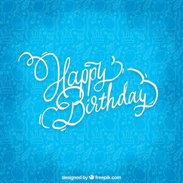 happy birthday blue background vector free download