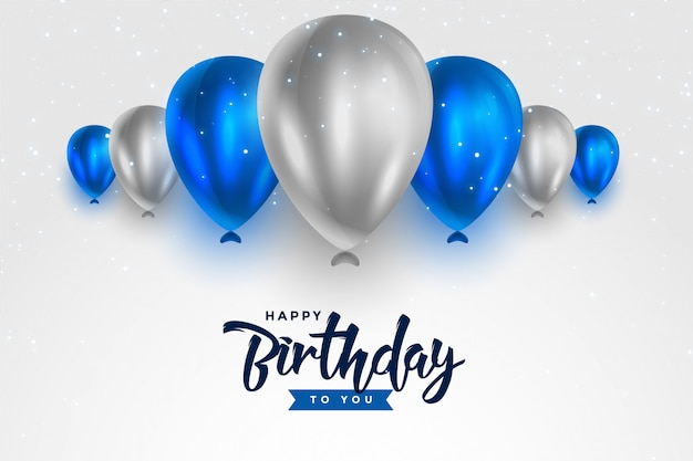 Happy birthday blue and silver white shiny balloons Free Vector