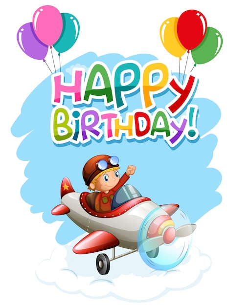 Happy Birthday Boy In Plane Card Vector Free Download