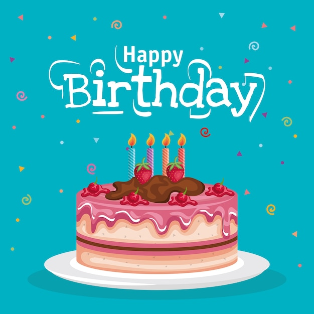 Happy birthday cake celebration card Vector Premium Download