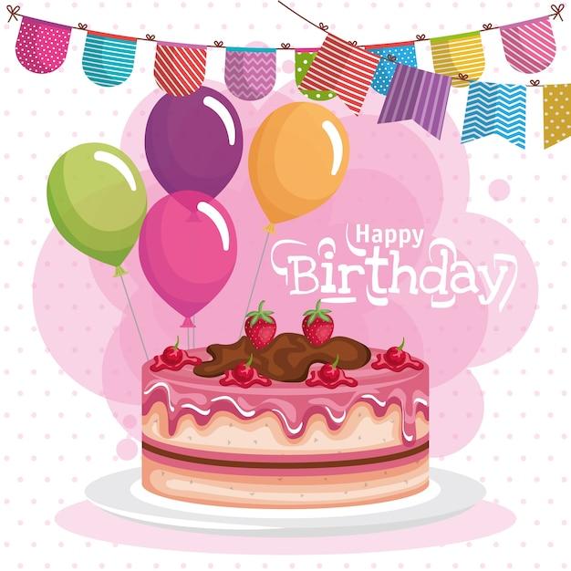 Happy Birthday Cake Celebration Card Vector Premium Download