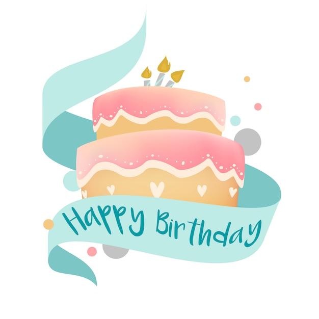 Happy Birthday Cake Design Vector Vector Free Download