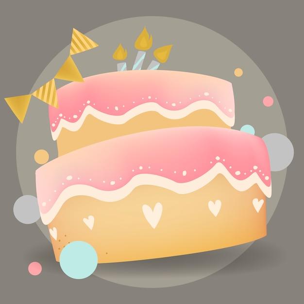 Happy birthday cake design vector Free Vector