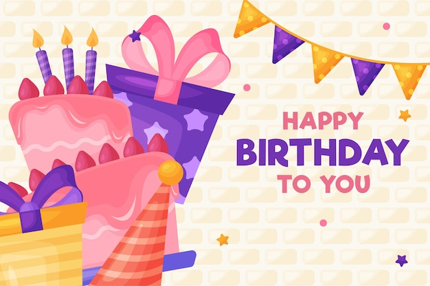 Happy birthday cake and gift boxes with ribbons Premium Vector