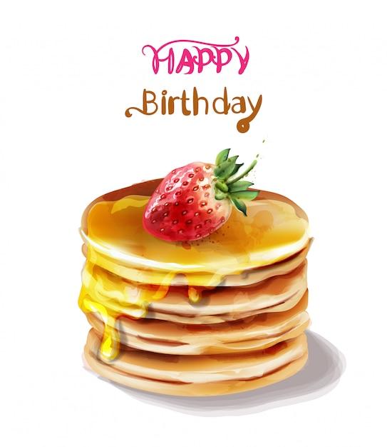 Happy birthday cake watercolor Premium Vector