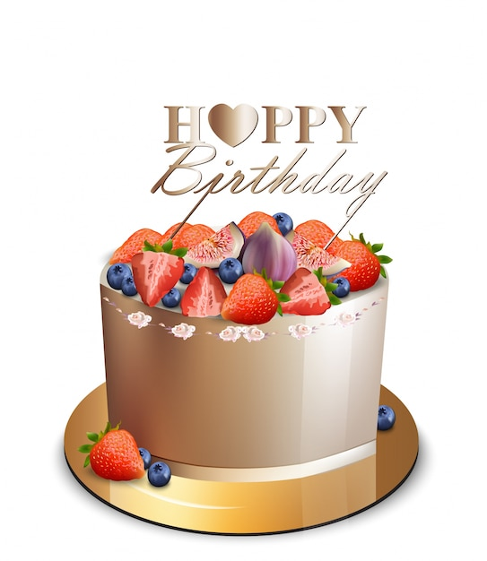 Happy Birthday Cake With Berry Fruits Vector