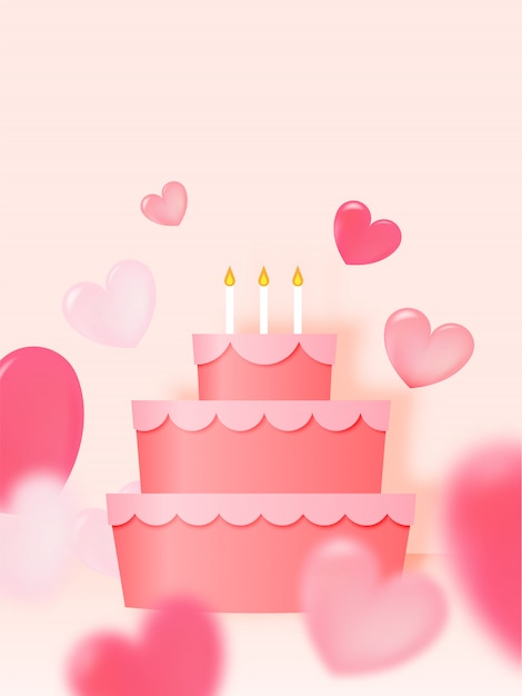Happy birthday cake with paper art style and pastel color scheme vector illustration Premium Vector