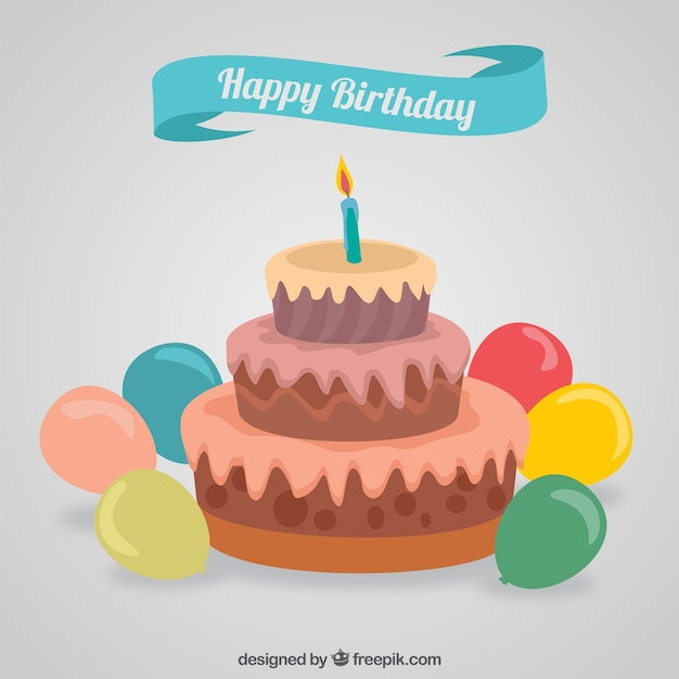 Cake Pictures Birthday Free : Happy birthday cake Vector Free Download
