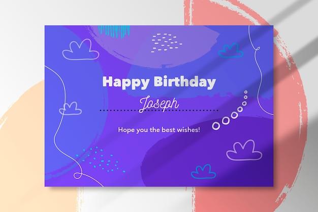 Buon compleanno carta disegno astratto Vettore gratuito