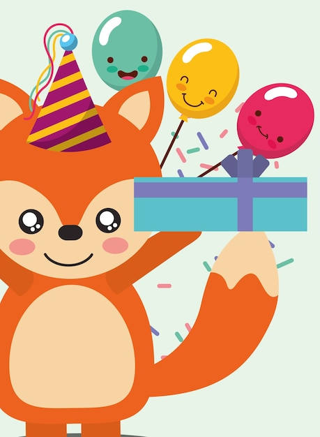 Happy Birthday Card And Cute Little Fox And Gift Balloons Vector