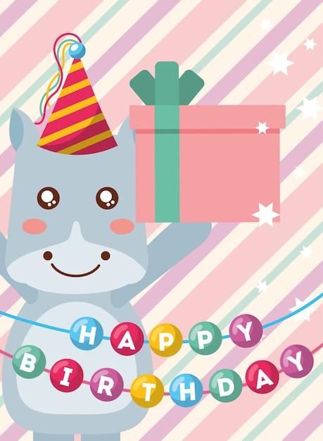 Happy Birthday Card And Cute Little Hippo And Gift Vector Premium