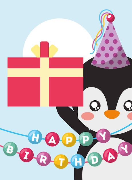 Happy Birthday Card And Cute Little Penguin And Gift Vector