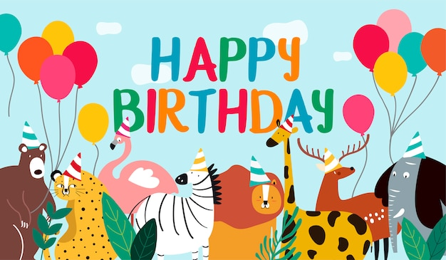 Happy birthday card animal theme vector Free Vector