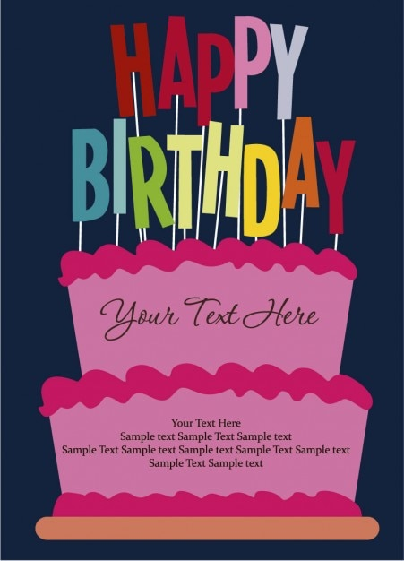 Happy birthday card cartoon style vector