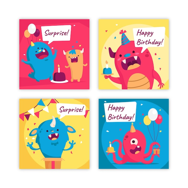 Happy birthday card collection Free Vector
