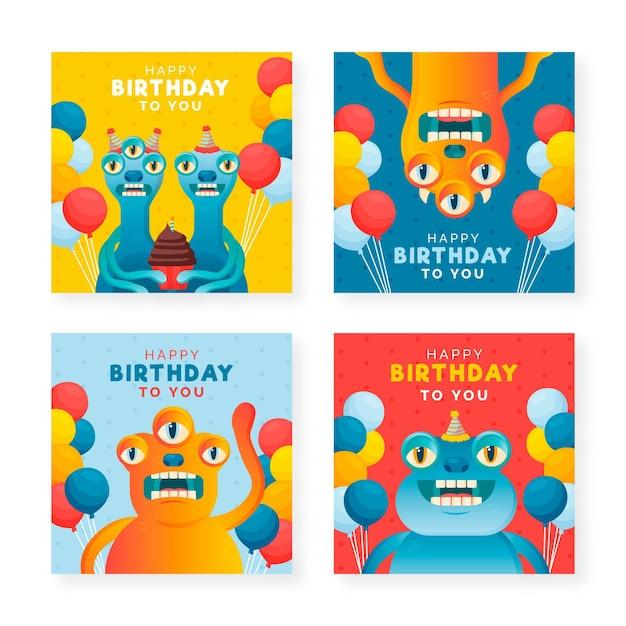 お誕生日おめでとうカードコレクション 無料ベクター